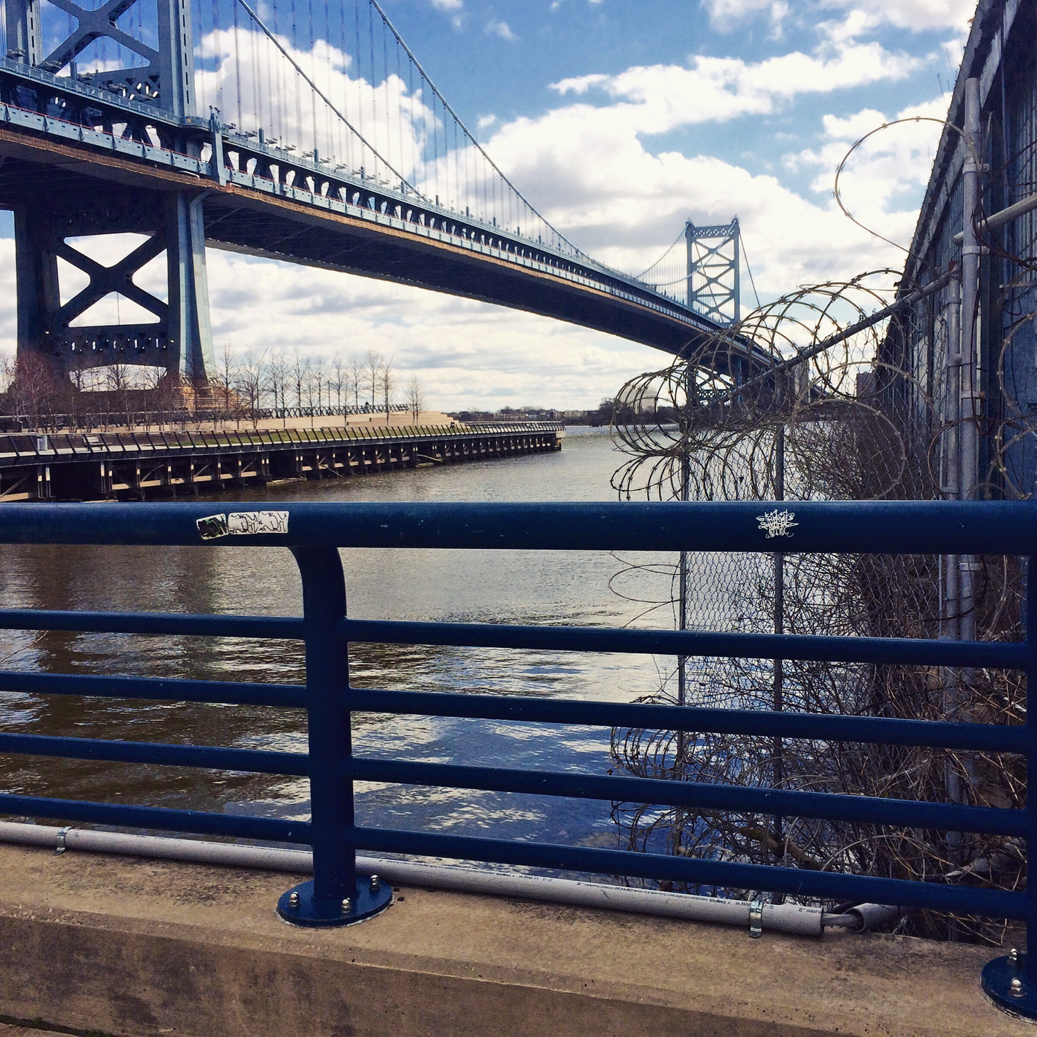 View of the Benjamin Franklin Bridge from the Race Street Pier