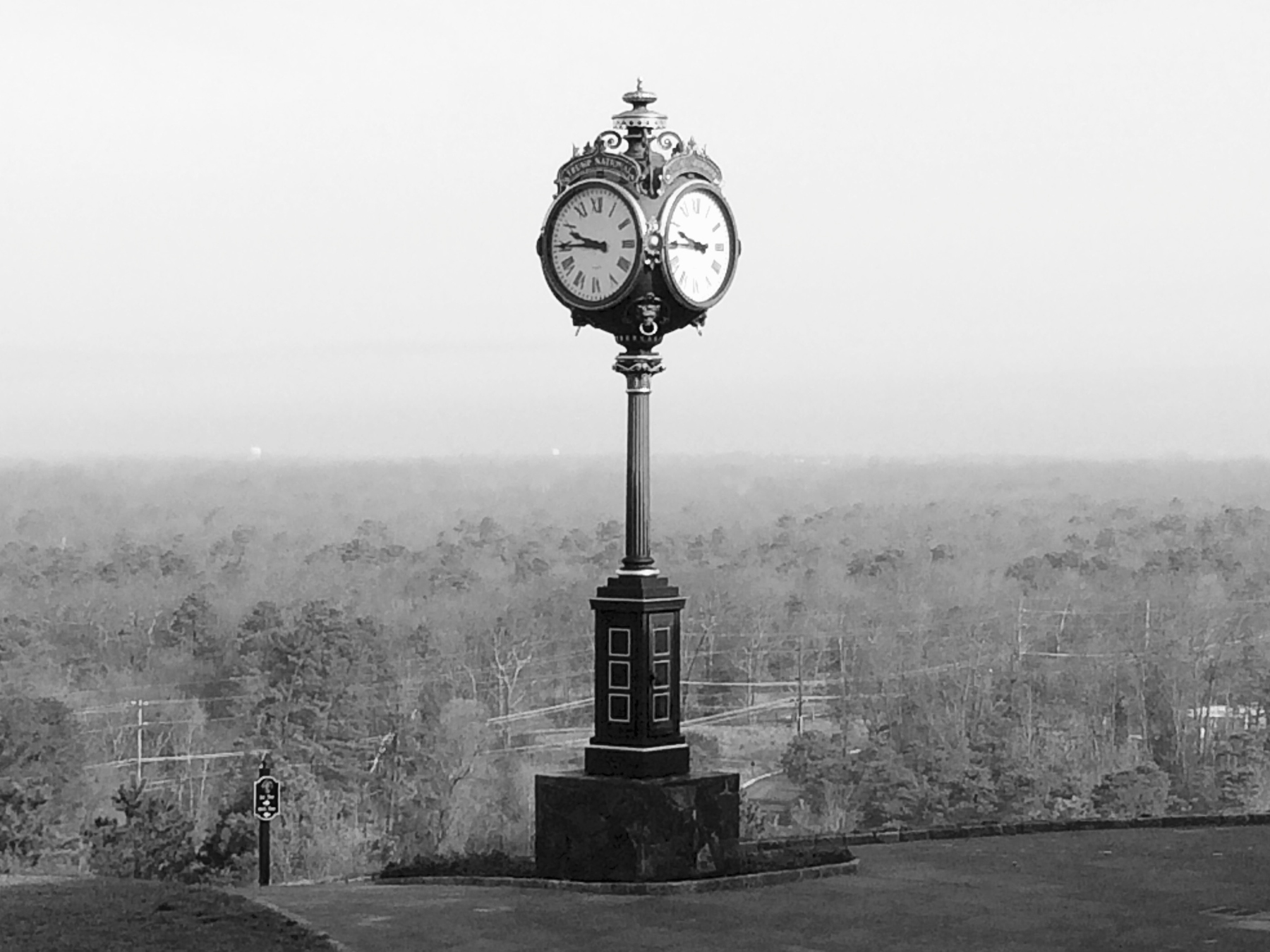Vintage looking clock tower on the crest of a hill in south Jersey